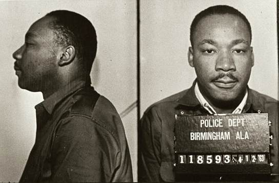 King following his arrest in Birmingham