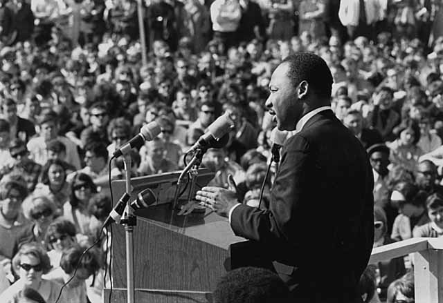 King speaking to an anti-Vietnam war rally at the University of Minnesota, St. Paul on April 27, 1967