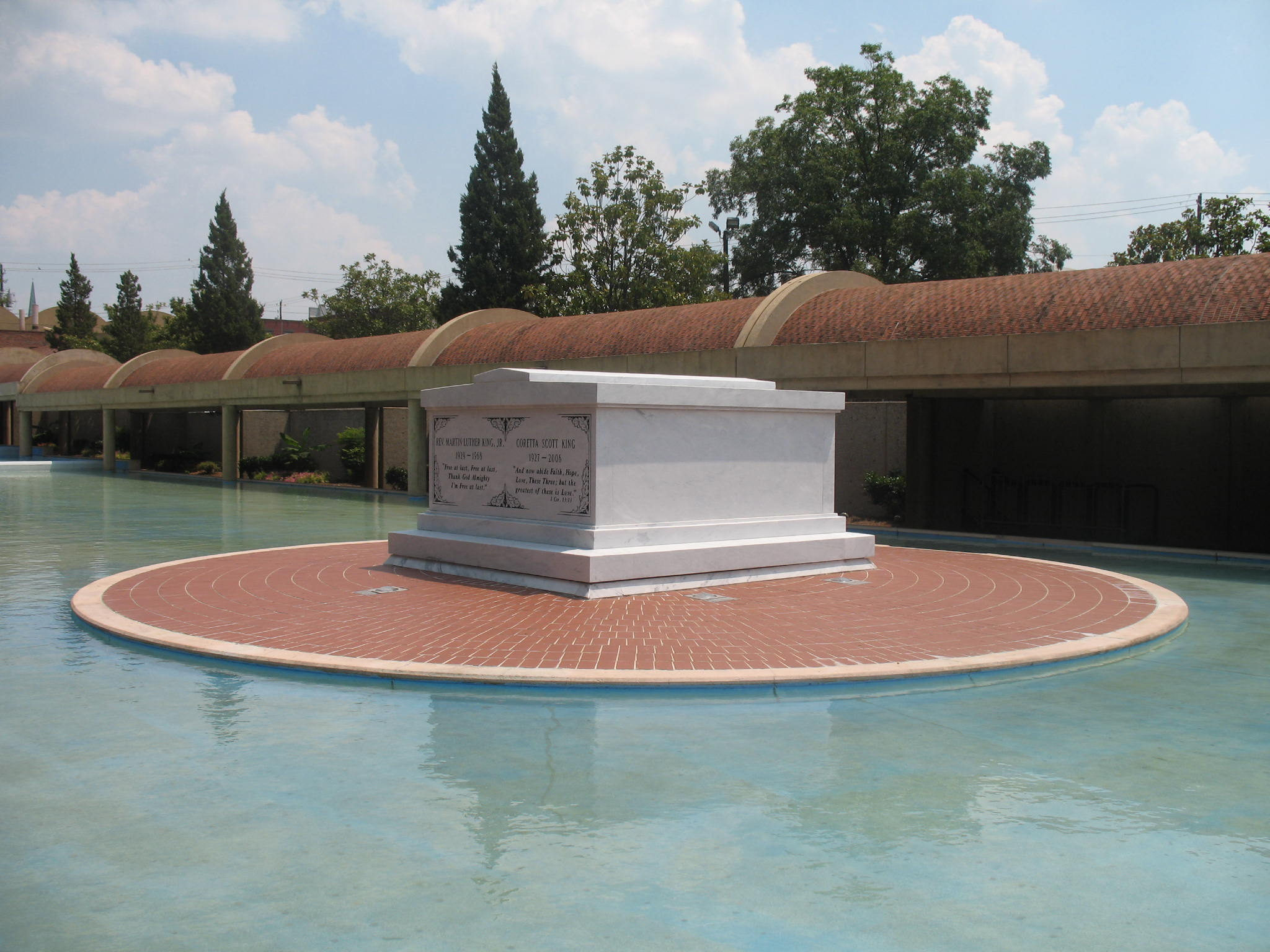 Martin Luther King and Coretta Scott King's sarcophagus, located on the grounds of the Martin Luther King Jr. National Historic Site in Atlanta, Georgia