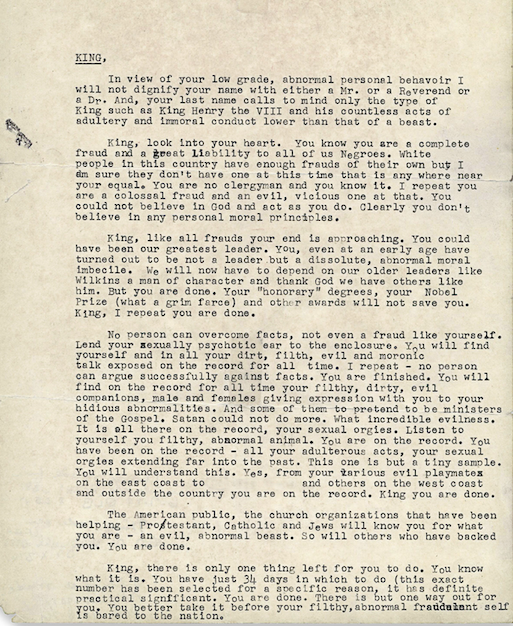 "The so-called ""suicide letter"", mailed anonymously by the FBI"
