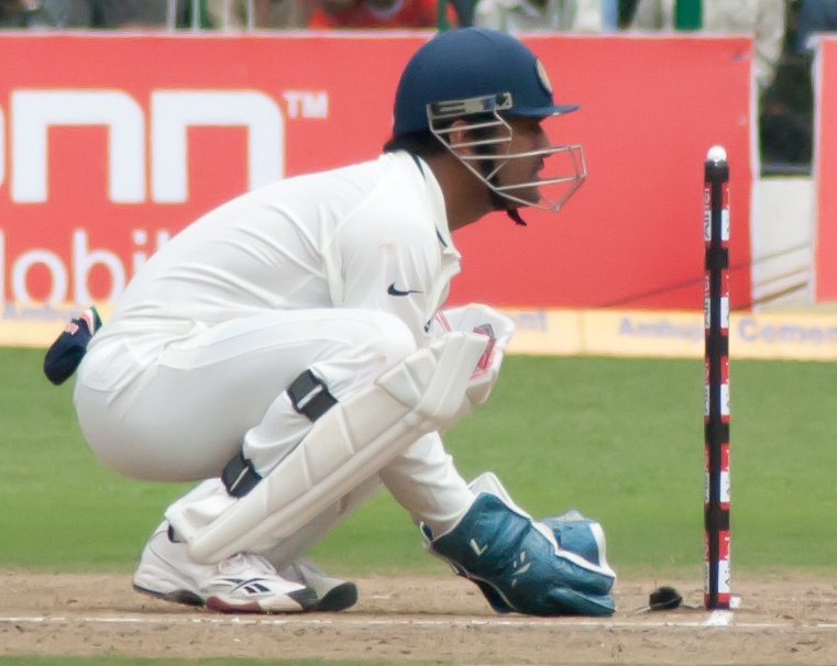 Dhoni behind the stumps