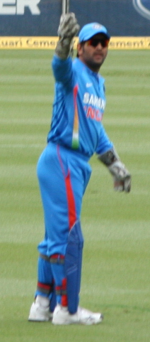 Dhoni captaining India in an ODI in February 2012.
