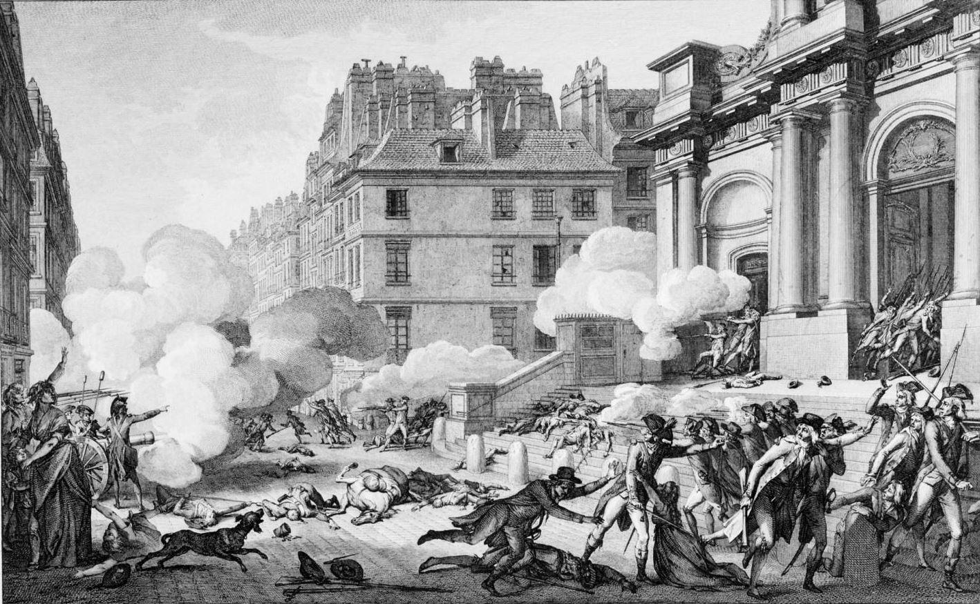 Journée du 13 Vendémiaire. Artillery fire in front of the Church of Saint-Roch, Paris, Rue Saint-Honoré
