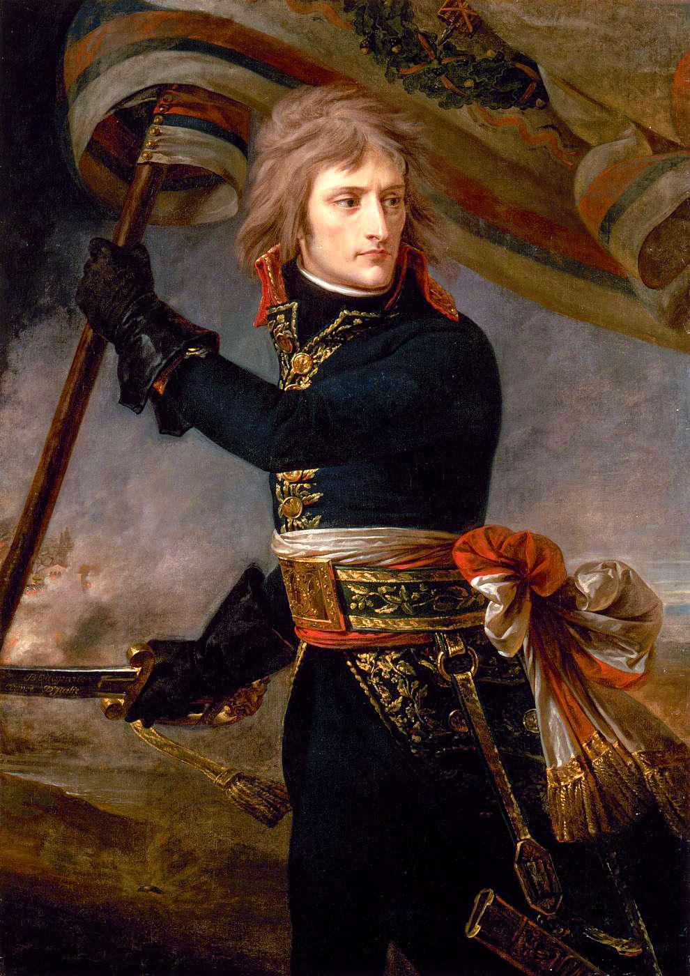 Bonaparte at the Pont d'Arcole, by Baron Antoine-Jean Gros, (ca. 1801), Musée du Louvre, Paris