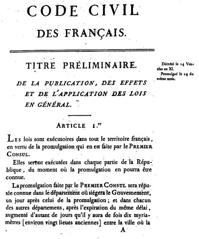 First page of the 1804 original edition of the Code Civil