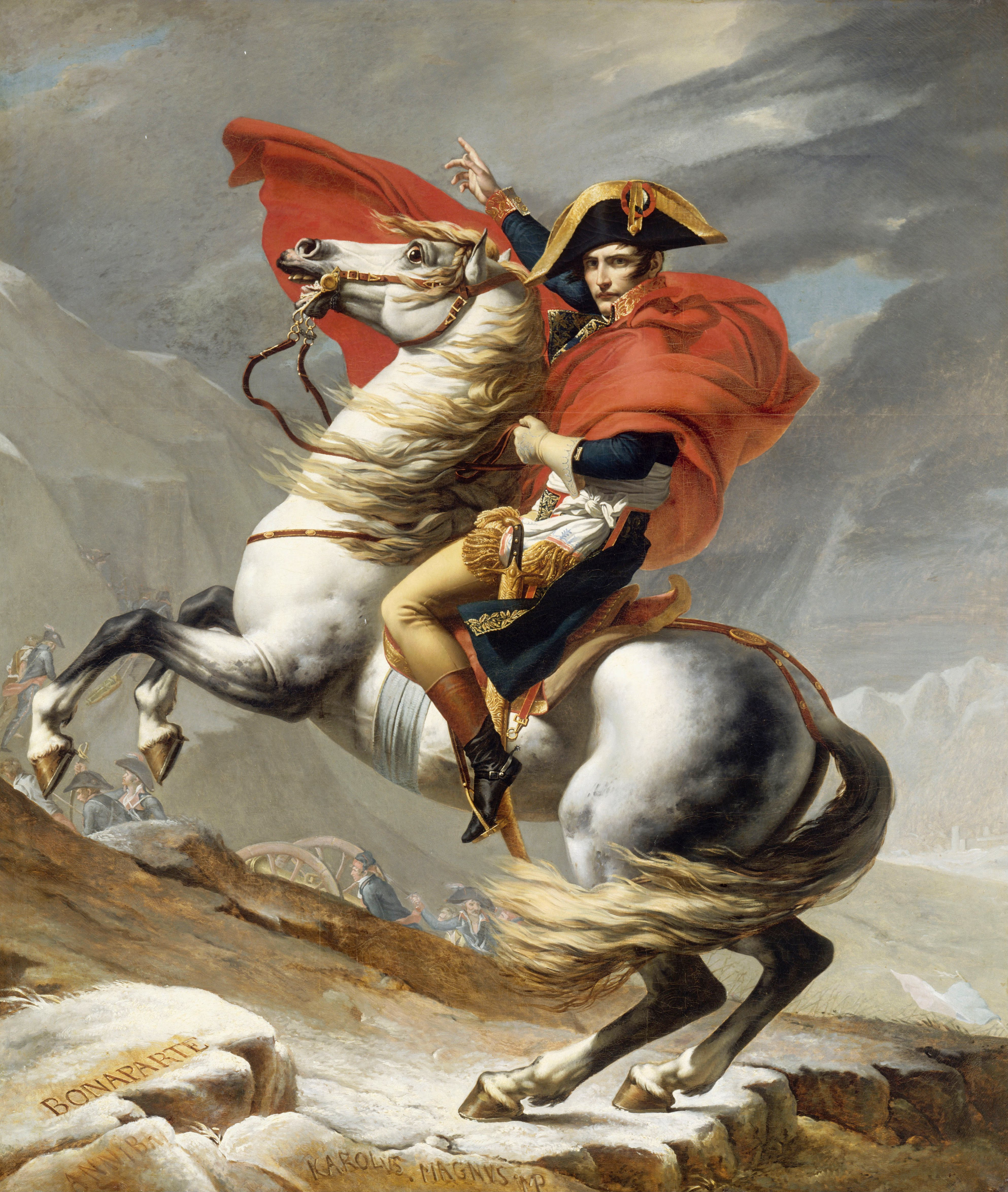 Napoleon Crossing the Alps, romantic version by Jacques-Louis David in 1805