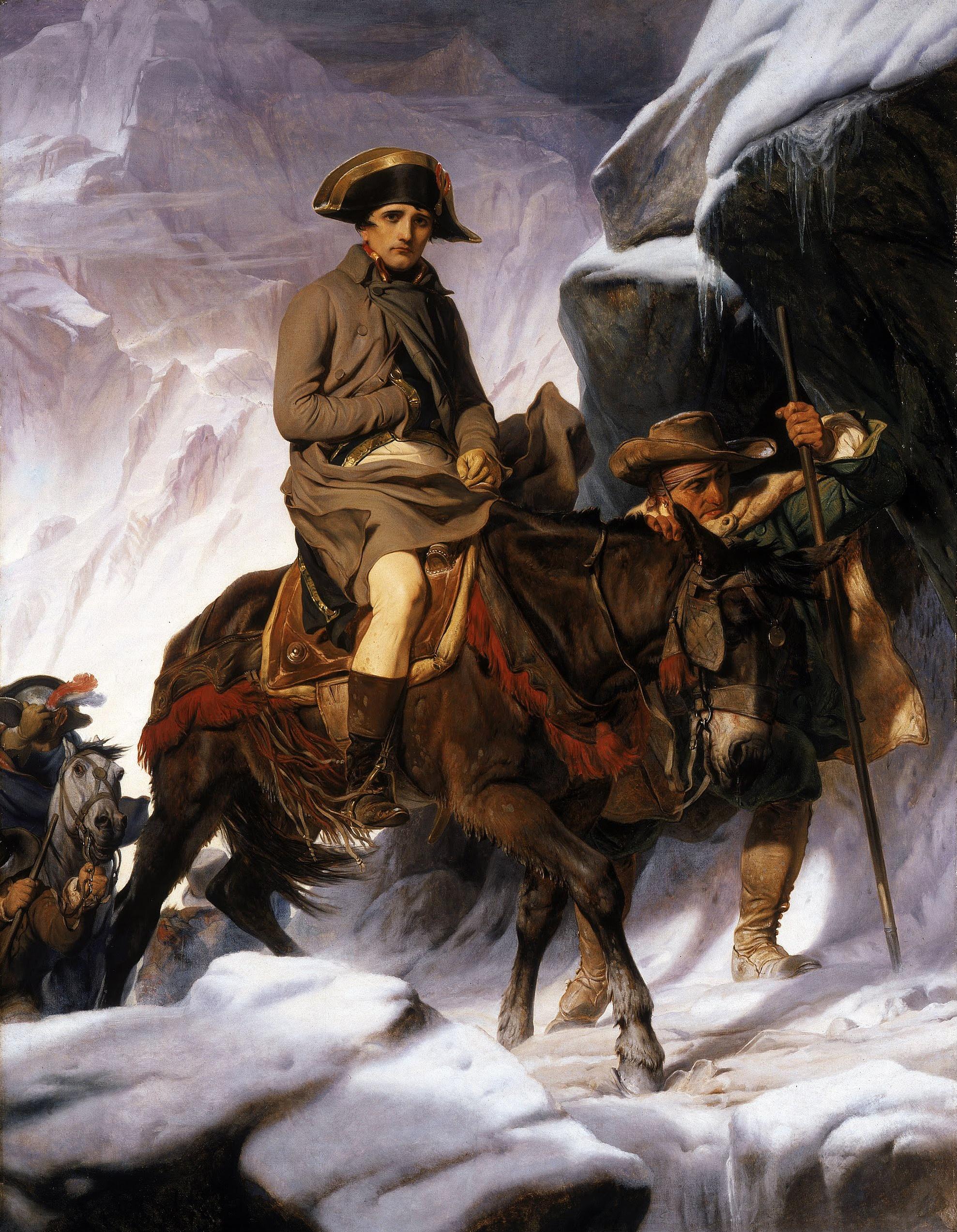 Bonaparte Crossing the Alps, realist version by Paul Delaroche in 1848
