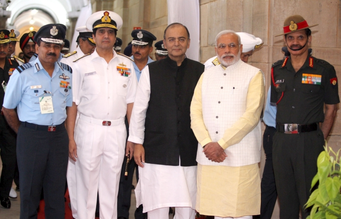 P.M. Modi with the then Defence Minister Arun Jaitley and the chiefs of Indian Air Force, Navy and Army, in 2014.