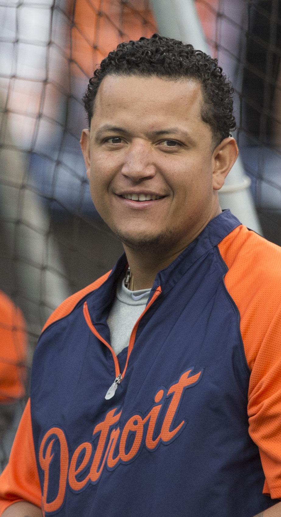 Cabrera during batting practice in 2014.