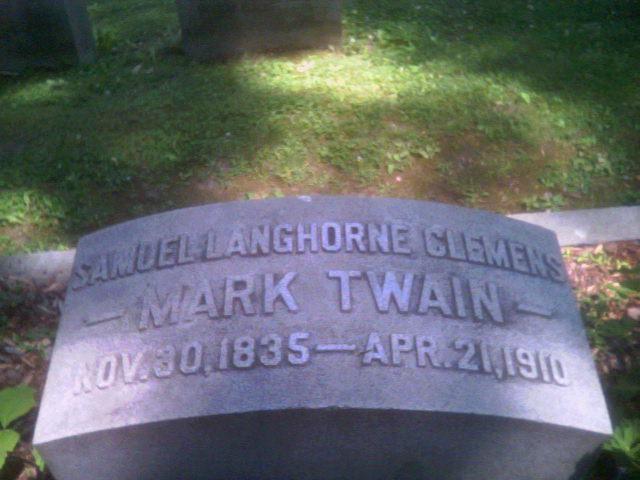 Mark Twain headstone in Woodlawn Cemetery.