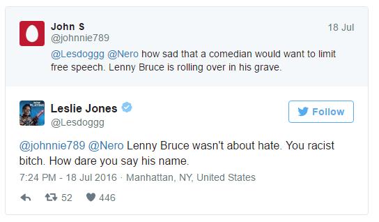 """Controversial tweet whereLeslie Jonescalls a Milo supporter a """"racist bitch"""""""