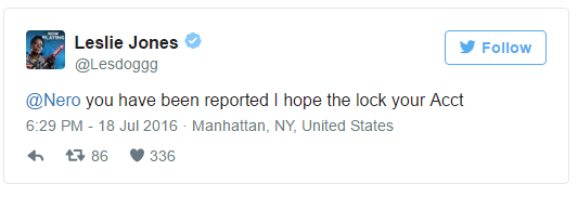 Tweet whereLeslie Jonesclaims to report Milo