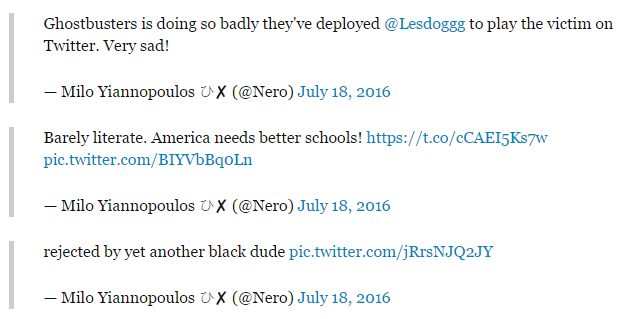 Series of tweets Milo made criticizing Leslie Jones