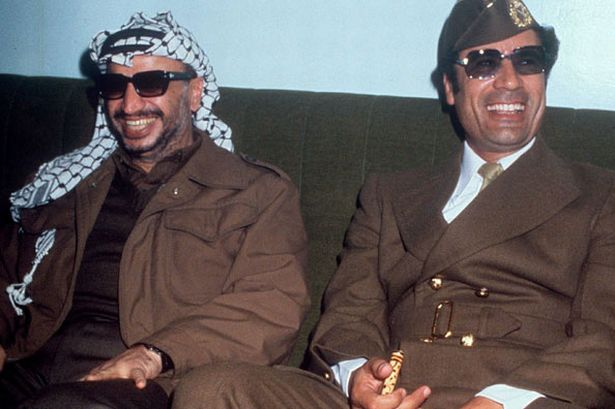 Gaddafi with Yasser Arafat in 1977