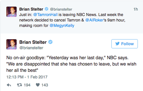 Announcement of Tamron leaving NBC News.