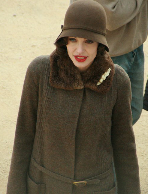 Jolie in character as Christine Collins on the set of Changeling in October 2007
