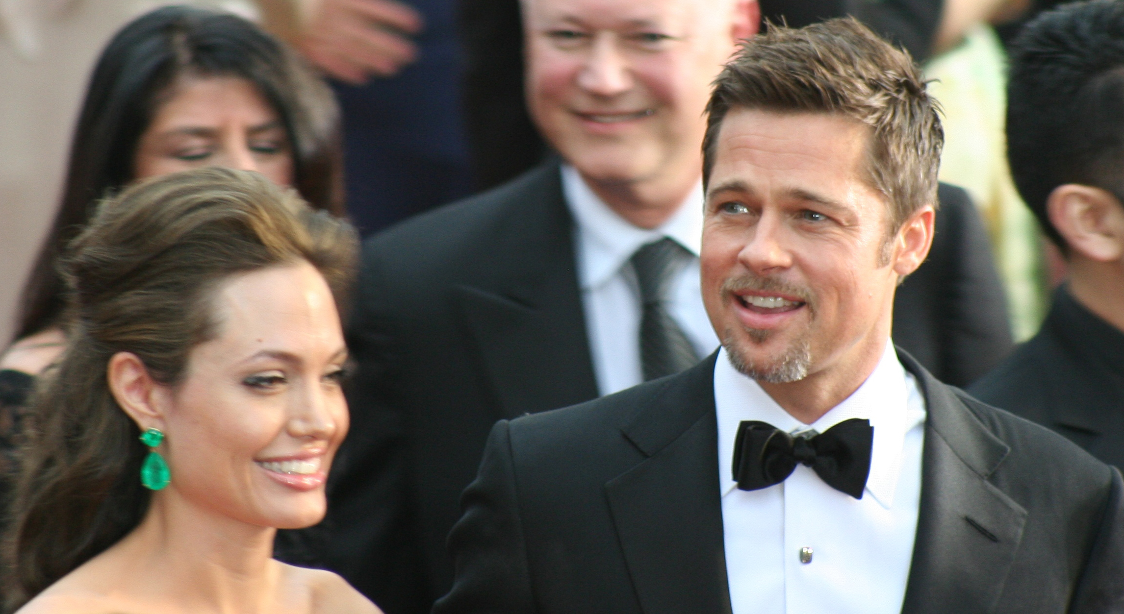 Jolie with her husband Brad Pitt, at the Academy Awards in February 2009, where both were nominated for a leading performance
