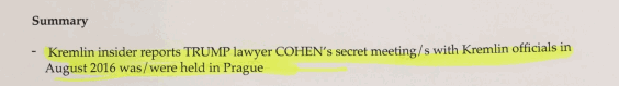 Claim of meeting between Michael Cohen and Kremlin officials