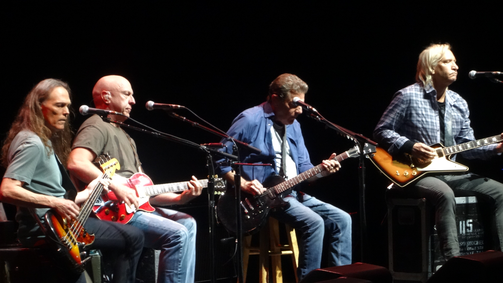 History of the Eagles tour, 2014, joined by Bernie Leadon (second from left). Henley on drums not pictured.