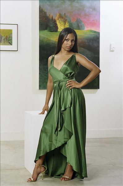 In a green dress