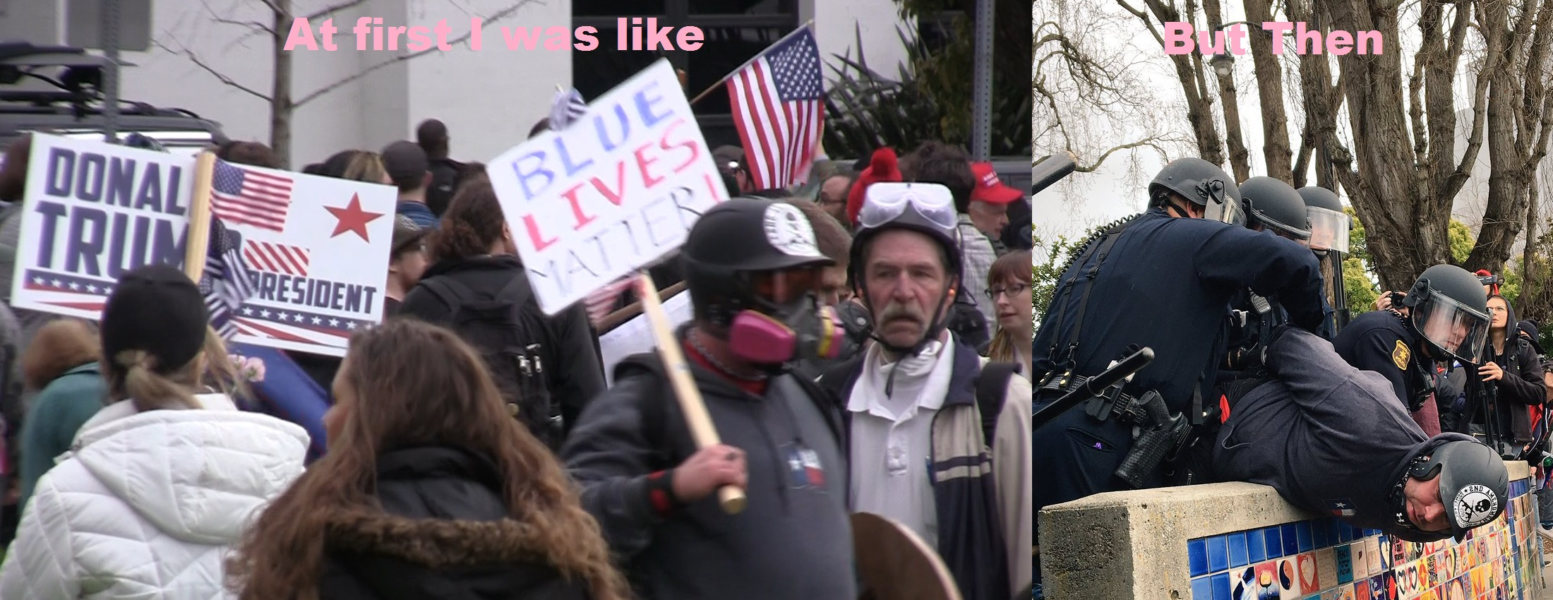 Based Stick Man was holding a Blue Live Matter Sign