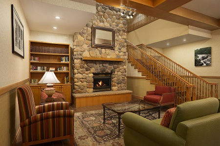 Bountiful, UT Hotel Lobby with Stone Fireplace