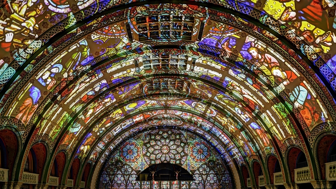3D Light Show Stained Glass Ceiling