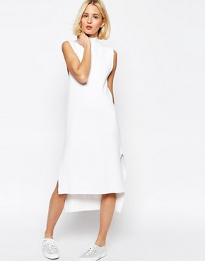 ADPT Knitted Clean Dress With Side Splits And High Neck