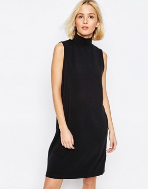 ADPT Longline Sleeveless Dress With High Neck