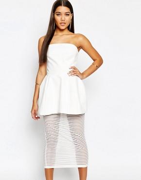 AQAQ Ribb Bandeau Mini Prom Dress With Mesh Stripe Underlay Skirt