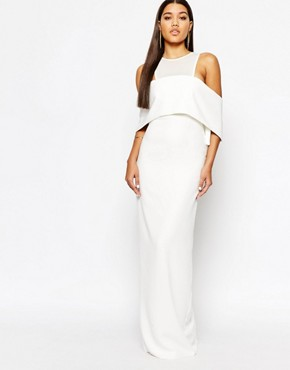 AQAQ Freya Maxi Dress With Mesh Bodice And Structured Frill Overlay
