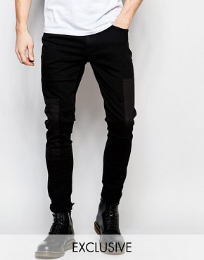 Brooklyn Supply Co Super Skinny Jeans Panelled Washed Black