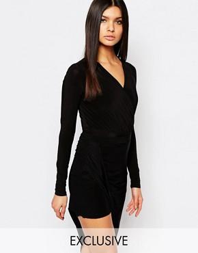 Club L Long Sleeve Wrap Front Bodysuit