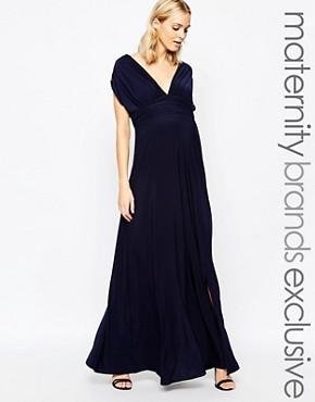 Club L Maternity Plunge Front Maxi Dress
