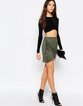 Daisy Street Wrap Front Mini Skirt