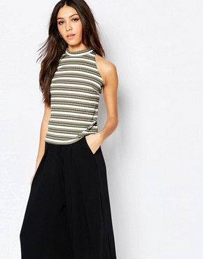 Daisy Street High Neck Ribbed Vest In Stripe