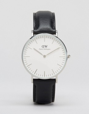 Daniel Wellington Classic Black Sheffield Silver Rim Large Watch