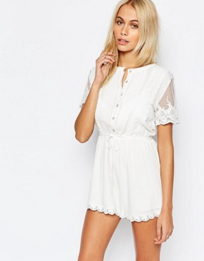 Fashion Union Pretty Playsuit with Scallop Lace