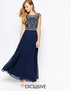 Frock and Frill Embellished Top Maxi Dress With Thigh Split