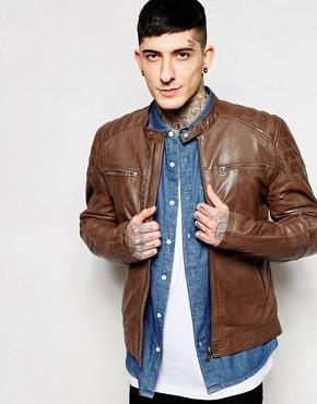 Goosecraft Leather Biker Jacket In Brown