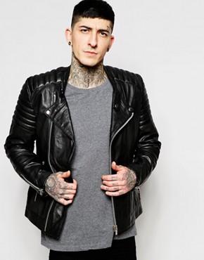 Goosecraft Leather Biker Jacket In Black