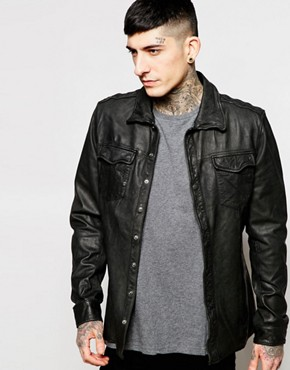 Goosecraft Leather Overshirt In Black