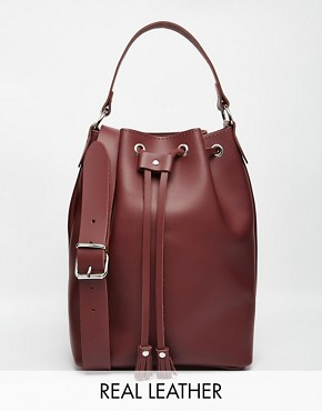 Grafea Duffle Bucket Bag in Oxblood Leather