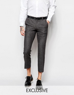Heart & Dagger Herringbone Trousers with Fleck in Cropped Super Skinny Fit