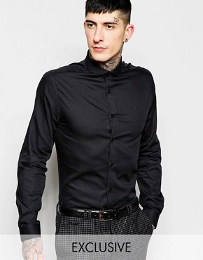 Heart & Dagger Textured Shirt with Curve Collar in Slim Fit
