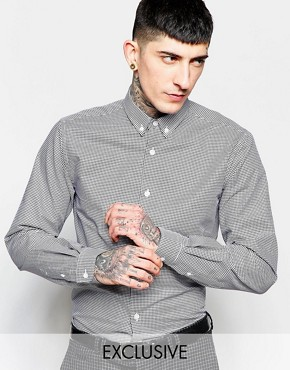 Heart & Dagger Dogtooth Shirt in Slim Fit with Button Down Collar