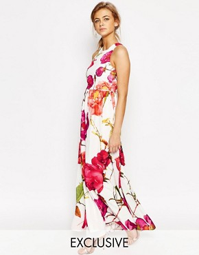 Hope and Ivy 2 in 1 Maxi Dress In Oversized Floral Print