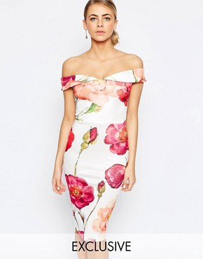 Hope and Ivy Bandeau Pencil Dress In Oversized Floral Print