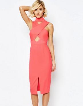 Lavish Alice High Neck Cut-Out Detail Centre Split Midi Dress