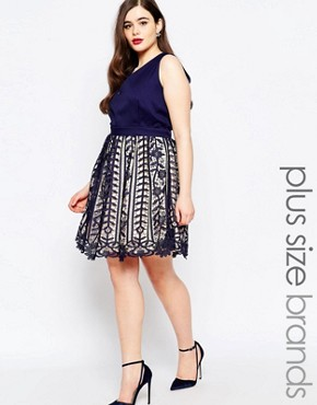 Little Mistress Plus Plunge Prom Dress With Premium Lace Skirt